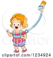 Clipart Of A Read Haired Caucasian Toddler Girl On A Child Leash Royalty Free Vector Illustration