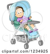 Happy Caucasian Toddler Boy In A Stroller