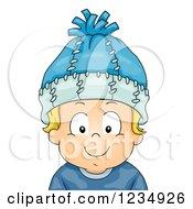 Happy Blond Caucasian Boy Wearing A Winter Hat