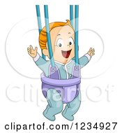 Clipart Of A Red Haired Caucasian Baby Boy Playing In A Bouncer Royalty Free Vector Illustration by BNP Design Studio