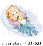 Clipart Of A Red Haired Caucasian Boy With A Milk Bottle Holder Royalty Free Vector Illustration by BNP Design Studio