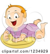 Clipart Of A Red Haired Caucasian Baby Boy On A Pillow Royalty Free Vector Illustration by BNP Design Studio