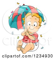 Clipart Of A Red Haired Caucasian Baby Boy With An Umbrella And Confetti Royalty Free Vector Illustration by BNP Design Studio