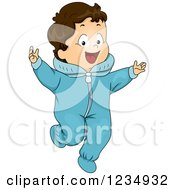 Clipart Of A Brunette Caucasian Baby Boy Wearing A Winter Onesie Royalty Free Vector Illustration