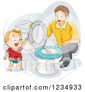 Clipart Of A Dad Instructing His Potty Training Son How To Flush A Toilet Royalty Free Vector Illustration
