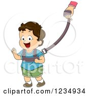 Clipart Of A Brunette Caucasian Boy Wearing A Toddler Leash Royalty Free Vector Illustration