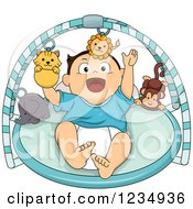 Clipart Of A Caucasian Baby Boy Playing In A Musical Gym Toy Royalty Free Vector Illustration