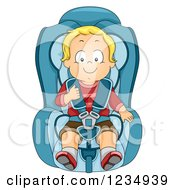 Happy Blond Caucasian Boy In A Booster Car Seat