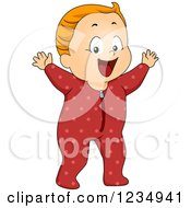 Clipart Of A Caucasian Baby Boy In Footie Pjs Royalty Free Vector Illustration