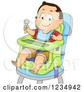 Caucasian Baby Boy Ready To Eat In A High Chair
