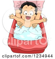 Clipart Of A Happy Baby Boy In A Bathing Tub Royalty Free Vector Illustration