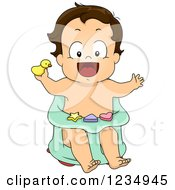 Clipart Of A Happy Baby Boy In A Bath Chair Royalty Free Vector Illustration