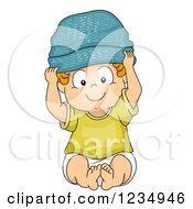 Clipart Of A Caucasian Baby Boy Wearing A Beanie Hat Royalty Free Vector Illustration by BNP Design Studio