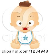 Clipart Of A Happy Baby Boy Sitting In A Bib Royalty Free Vector Illustration