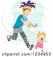 Clipart Of A Young Father Wearing A Fools Hat And Chasing A Blond Toddler Girl Royalty Free Vector Illustration