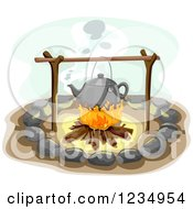 Clipart Of A Kettle Over A Campfire Royalty Free Vector Illustration