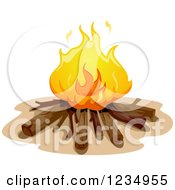 Clipart Of A Campire With Logs Royalty Free Vector Illustration