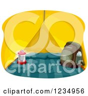 Clipart Of A Lantern And Backpack In A Yellow Tent Royalty Free Vector Illustration