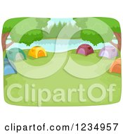 Clipart Of A Lakefront Camp Site With Tents In A Ring Royalty Free Vector Illustration