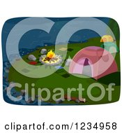 Clipart Of A Lakefont Fire And Campground Tents At Night Royalty Free Vector Illustration