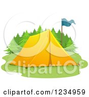 Yellow Tent And Blue Flag
