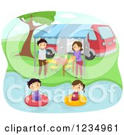 Happy Family Swimming And Having A Picnic At A Lake