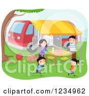 Clipart Of A Happy Family Having A Picnic At A Camp Ground Royalty Free Vector Illustration by BNP Design Studio