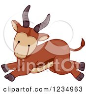 Clipart Of A Cute Baby Antelope Running Royalty Free Vector Illustration