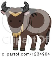 Clipart Of A Cute Wildebeest Royalty Free Vector Illustration by BNP Design Studio
