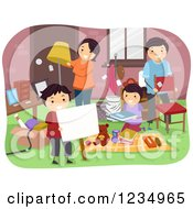 Clipart Of A Happy Family Setting Up A Yard Sale Royalty Free Vector Illustration