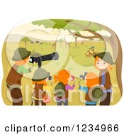 Clipart Of A Happy Red Haired Family On A Safari Tour Royalty Free Vector Illustration by BNP Design Studio