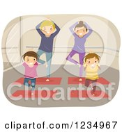 Clipart Of A Happy Family Doing Yoga Royalty Free Vector Illustration by BNP Design Studio