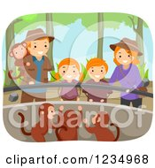 Clipart Of A Happy Red Haired Family Watching Monkeys At A Zoo Royalty Free Vector Illustration by BNP Design Studio