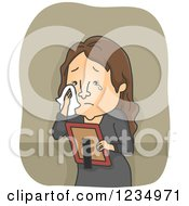 Clipart Of A Caucasian Woman Crying And Looking At A Picture Of A Deceased Loved One Royalty Free Vector Illustration