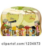 Clipart Of Teachers And School Children At An African Safari Royalty Free Vector Illustration by BNP Design Studio