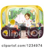 Clipart Of A Tour Guide Speaking To Children On A Bus Royalty Free Vector Illustration