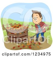Clipart Of A Man Raking Leaves And Putting Them In A Compost Bin Royalty Free Vector Illustration