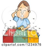 Clipart Of A Confused Caucasian Man Trying To Figure Out Where A Recycle Item Belongs Royalty Free Vector Illustration