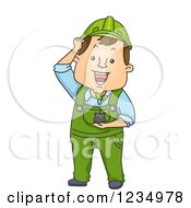 Clipart Of A Caucasian Worker Man Holding A Seedling Plant Royalty Free Vector Illustration