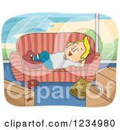 Clipart Of A Relaxed Blond Caucasian Man Resting On A Couch In A New Beach Front Home Royalty Free Vector Illustration by BNP Design Studio