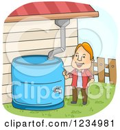 Clipart Of A Happy Caucasian Man Collecting Rain Water From The Gutter Royalty Free Vector Illustration by BNP Design Studio