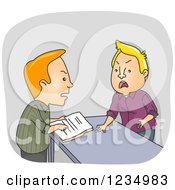 Clipart Of Caucasian Men Arguing Over Documents At A Counter Royalty Free Vector Illustration