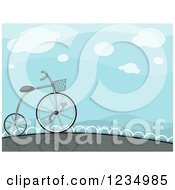 Clipart Of A High Wheeler Bicycle Under A Blue Sky Royalty Free Vector Illustration