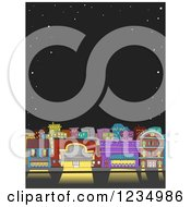 Clipart Of A Starry Night Sky Bordering A City At Night Royalty Free Vector Illustration