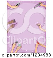Clipart Of A Border Of Hands With Makeup And Hair Items Over Purple Royalty Free Vector Illustration