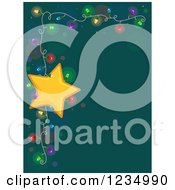 Clipart Of A Border Of Christmas Lights And A Star Over Teal Royalty Free Vector Illustration