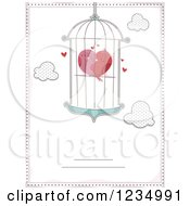 Poster, Art Print Of Cuddling Love Birds Forming A Heart In A Cage Bordered With Text Space