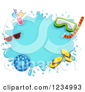 Clipart Of A Water Splash Frame With Summer Items Royalty Free Vector Illustration