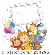 Clipart Of Happy Party Zoo Animals With A Sign Royalty Free Vector Illustration