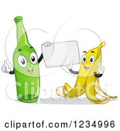 Happy Banana Peel And Bottle Characters Holding A Sign
